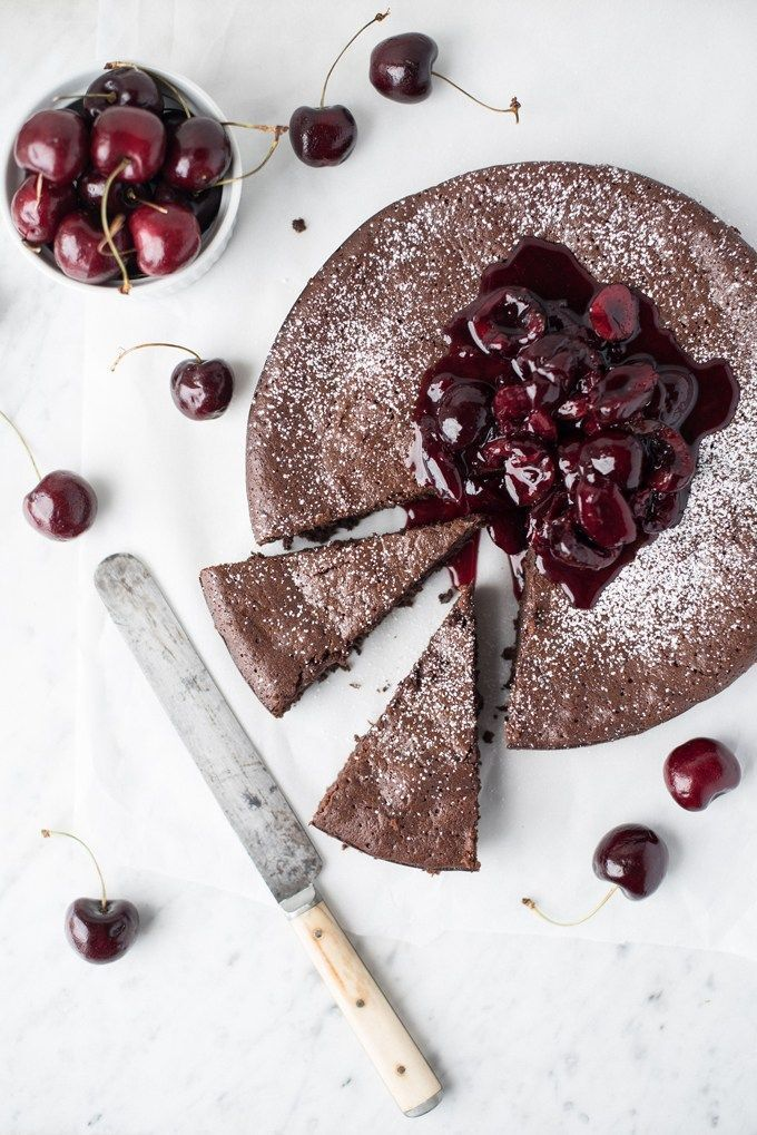 dark chocolate torte with cherry compote