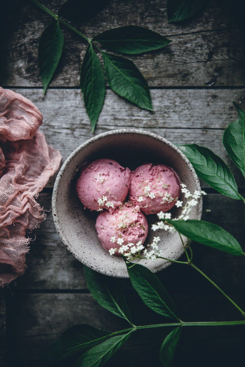 Strawberry mascarpone ice cream with lime sugar