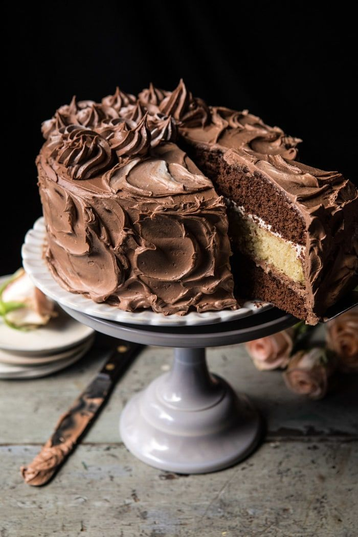 Chocolate Vanilla Birthday Cake