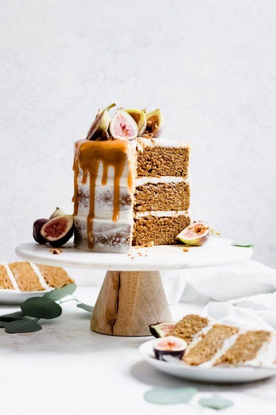 "Chai Spiced Pumpkin Layer Cake with Fresh Figs and Caramel #vegan explore Pinterest""> #vegan"