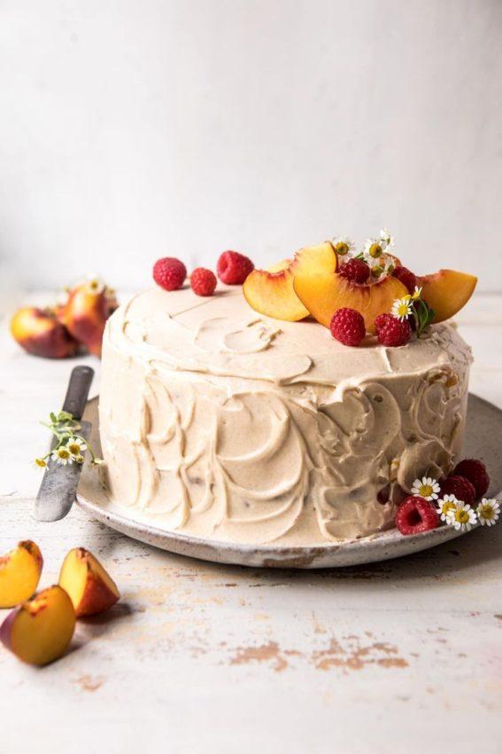 Peach ricotta layer cake