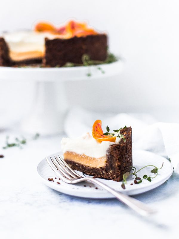 Mascarpone and blood orange curd chocolate tart