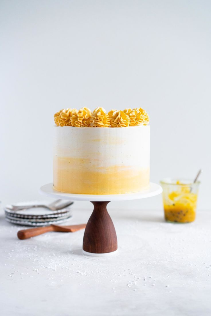 Vanilla Layer Cake with Passionfruit Curd and Vanilla Swiss Meringue Buttercream