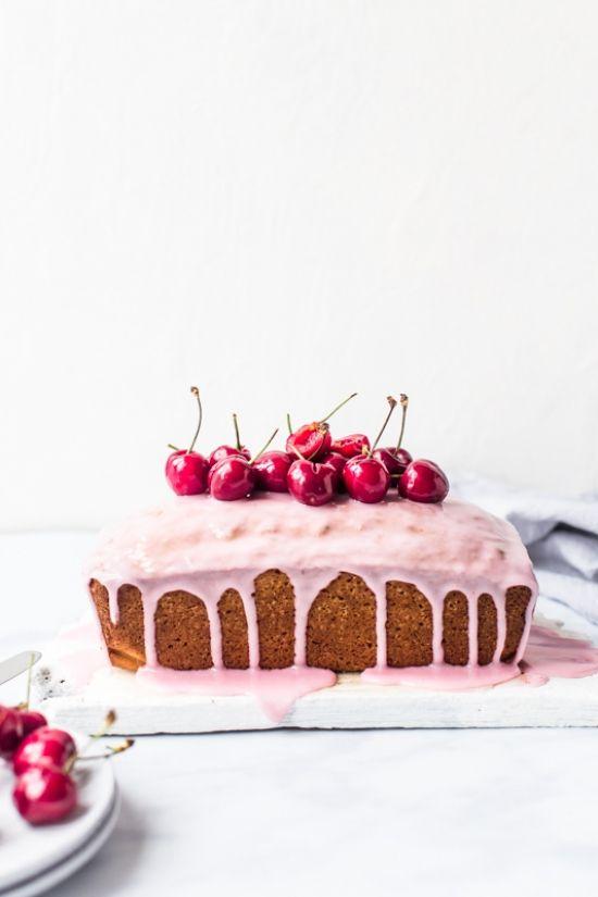 Orange Blossom Pound Cake with Cherry Glaze