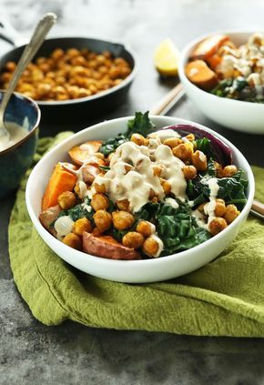 AMAZING Sweet Potato Chickpea Buddha Bowl with Kale, Red Onion and a STUNNING Tahini-maple…