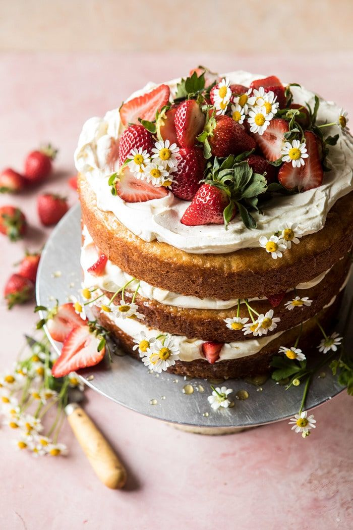 Strawberry Chamomile Naked Cake. – Half Baked Harvest