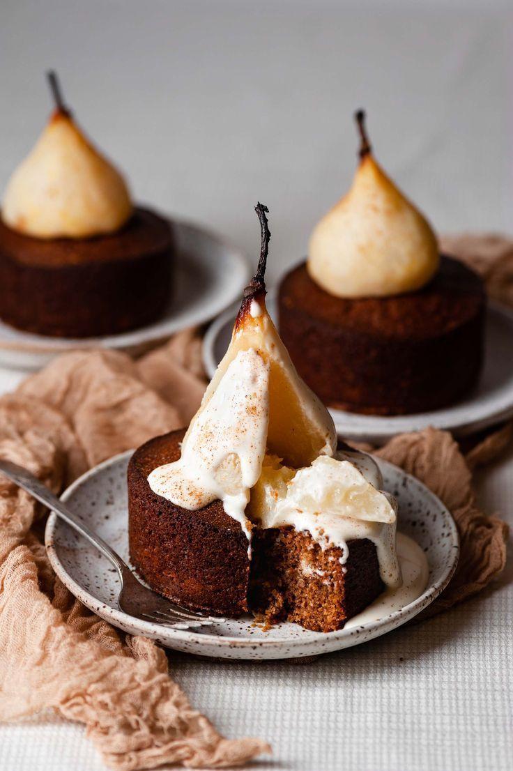 """Mini Poached Pear Cardamom Cakes   #cardamomcake explore Pinterest""""> #cardamomcake #cake explore Pinterest""""> #cake…"""