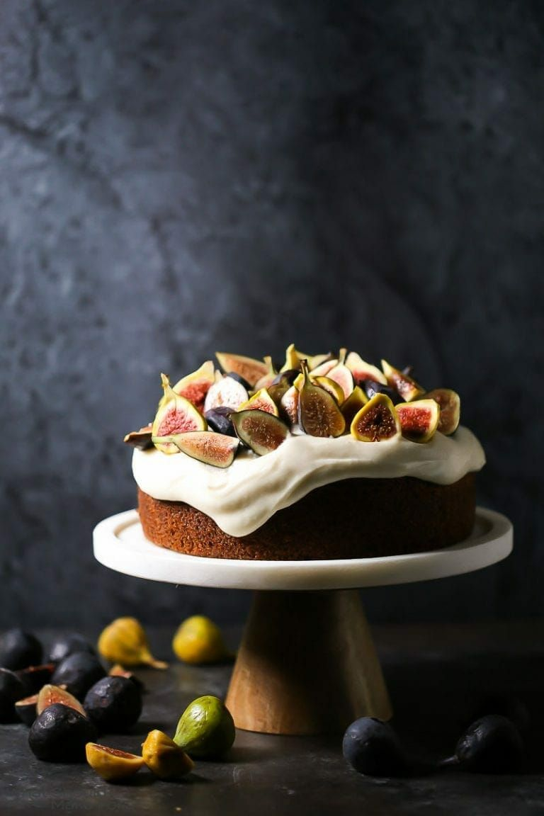 Olive Oil Cake with Mascarpone Frosting & Fresh Figs